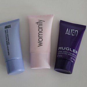 Thierry Mugler silver purse and body creams